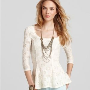 NWT Free People Daisy Lace Peplum Top